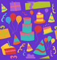 seamless birthday party background with cake vector image vector image