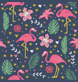 seamless pattern pink cute flamingo with flowers i vector image vector image
