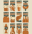 set business cards for pub on topic beer vector image
