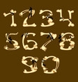 set of numbers made in bone style vector image vector image