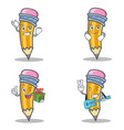 set of pencil character with successful smirking vector image vector image