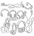 set sketch circumaural headphones vector image vector image