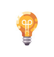 shiny light bulb flat icon vector image vector image