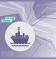 ship boat icon on purple abstract modern vector image
