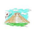 sketch chichen itza mayan pyramid in mexico vector image
