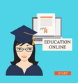 start education online with girl laptop and vector image vector image