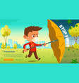 stop virus cartoon web banner boy with umbrella vector image vector image