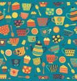 tea cups seamless pattern background teal vector image vector image