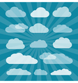 Transparent Clouds Cut From Paper on Blue vector image vector image