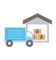 truck delivery with warehouse service icon vector image