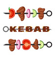 turkish kebab in flat style cooked delicious vector image vector image