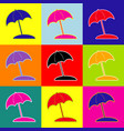 umbrella and sun lounger sign pop-art vector image