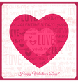 valentines day greeting card with red heart vector image vector image