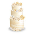 wedding cake with flowers watercolor vector image vector image