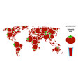 world map composition of tomato vector image vector image