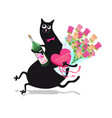 cat with flowers vector image