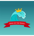 king of the wave surfing or emblem vector image