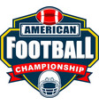 american football championship logo design vector image vector image