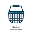 basket lineal color icon vector image