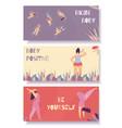 bikini body positive flat banner set floral design vector image vector image