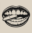bite bullet in chicano tattoo style vector image vector image