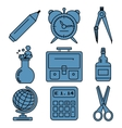 Black school goods linear icons Part 1 vector image vector image