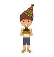 boy holding birthday cake with candles vector image vector image