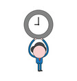 businessman character holding up clock color and vector image vector image