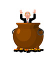 businessman in infernal cauldron sinner in frying vector image vector image