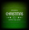 christmas greetings card with darkgreen vector image vector image