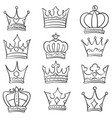 collection stock various crown doodles vector image vector image