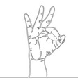 continuous line drawing of hand symbol okay vector image vector image