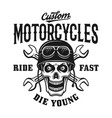 custom motorcycles vintage emblem with skull vector image
