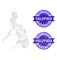 dotted map of philippines and grunge stamp vector image