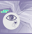 eye tears icon on purple abstract modern vector image