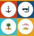 flat icon summer set of scuba diving coconut vector image vector image