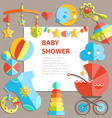 flat infancy bacground baby products decoration vector image