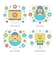 Flat line Social Media and Network Video vector image vector image