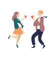 flutter man and woman sending hearts to each other vector image vector image