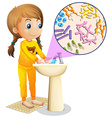 Girl washing hands in the sink vector image vector image