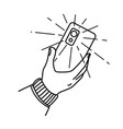 hand with a mobile phone vector image