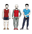 handsome young men standing wearing stylish sport vector image