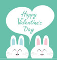 happy valentines day white bunny rabbit couple vector image vector image