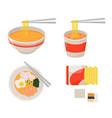 instant noodle collection set ramen cup noodle vector image vector image