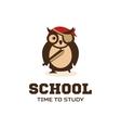 Isolated wise owl logo School logotype vector image