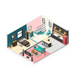 isometric apartment interior background vector image vector image
