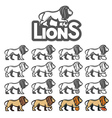 Lion mascot in different styles for sport emblems vector image