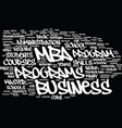 mba overview text background word cloud concept vector image vector image