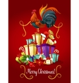 Merry Christmas card Rooster cock poster