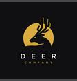 minimalist moon deer logo icon template vector image